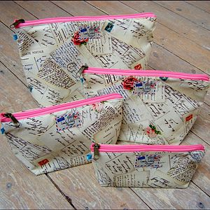 French Postcard Airmail Cosmetic Toiletry Washbag