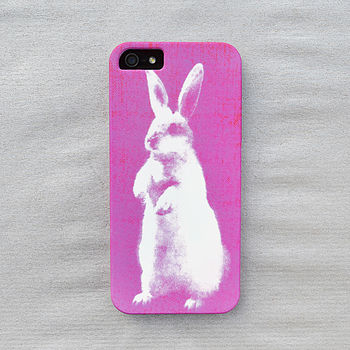 Neon Pink Bunny Print Case For iPhone