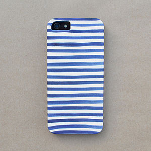 Navy Watercolor Stripe Case For iPhone