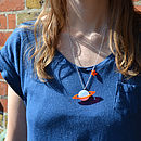Blue Saturn Necklace modelled