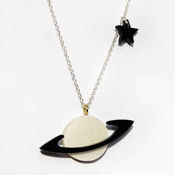 White and Black Saturn Necklace