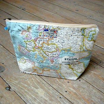 World Map Atlas Cosmetic Toiletry Wash Bag Large