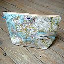 World Map Atlas Cosmetic Toiletry Wash Bag