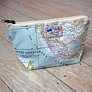 World Map Atlas Cosmetic Toiletry Wash Bag Small