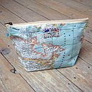 World Map Atlas Cosmetic Toiletry Wash Bag Medium