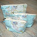 World Map Atlas Cosmetic Toiletry Wash Bag All Sizes