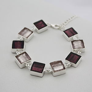 Silver Bracelet With Murano Glass Squares