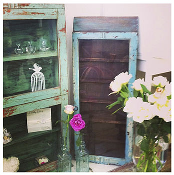 Farmhouse Style Slim Vintage Display Cabinet