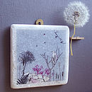 Warbler And Dandelion Decorative Marble Tile