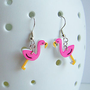 Flamingo Acrylic Kitsch Earrings - women's jewellery