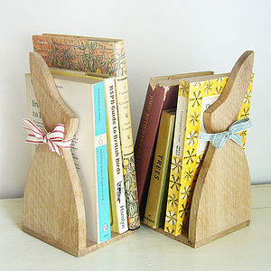 Pair Of Oak Bunny Bookends - bookends