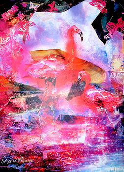Flamingo Island Mixed Media Print