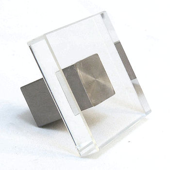 Clear SQUARE Glass Cupboard Door Knobs