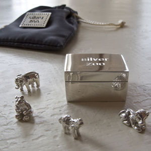 Sterling Silver Zoo Pouch Christening Keepsake