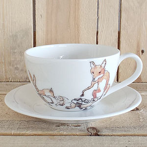 Fox Hare And Hedgehog Design Teacup - kitchen