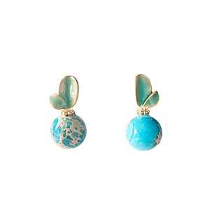 Turquoise Gem Bead Sweet Leaves Stud Earrings - earrings