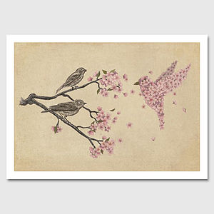 Blossom Bird Art Print - paintings & canvases