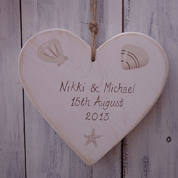 Personalised Rustic Seaside Wedding Heart