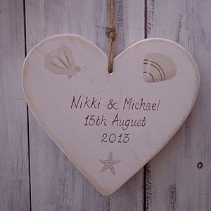 Seaside Wedding Heart - outdoor wedding signs