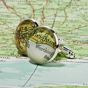 Personalised Silver Plated Vintage Map Cufflinks - for your other half