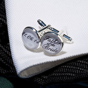 Personalised Silver Plated Wedding Cufflinks - cufflinks