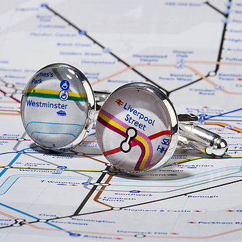 Silver Plated London Tube Map Cufflinks