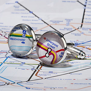 Personalised Silver Plated London Tube Map Cufflinks - wedding jewellery