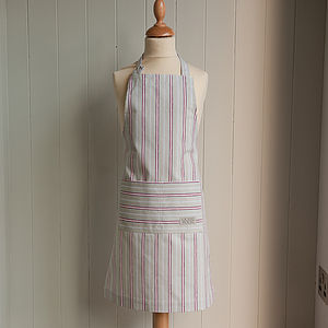 Organic Malvern Grey Red Stripe Childrens Apron
