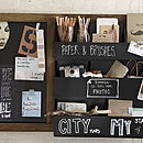 Wooden Chalkboard Storage Unit
