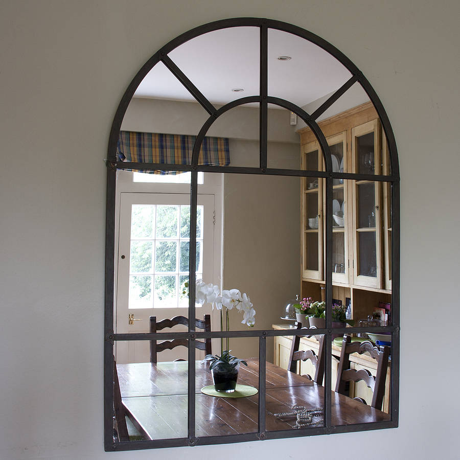 Metal arch mirror by decorative mirrors online for Window arch wall decor