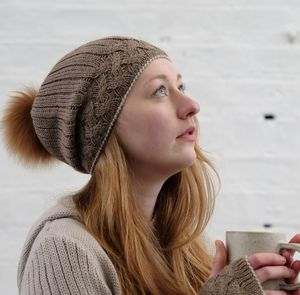 Alpaca Cable Knit Pompom Hat - hats, scarves & gloves