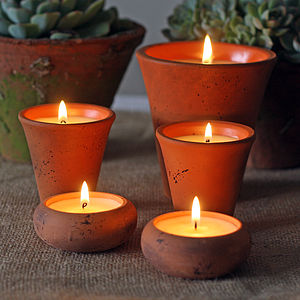 Scented Candles In Flower Pots - table decorations