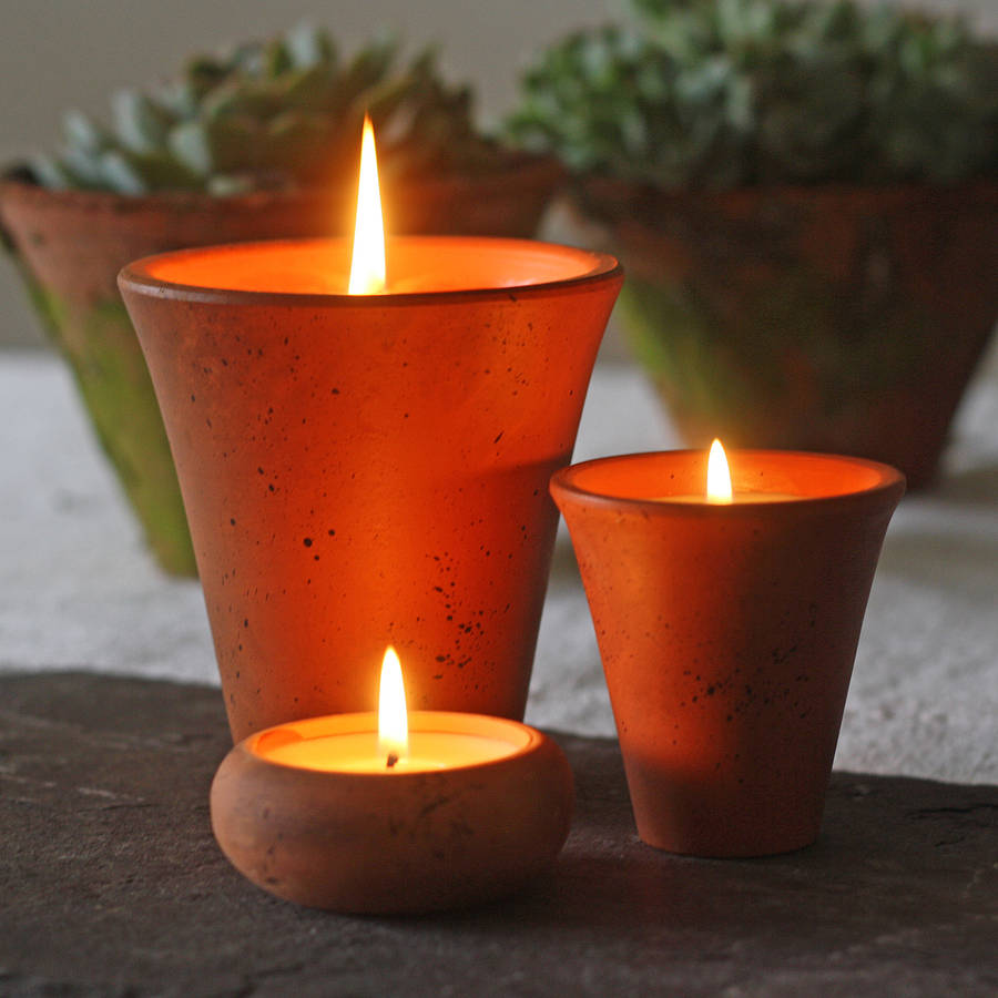 Scented candles in flower pots by the wedding of my dreams for How to scent candles