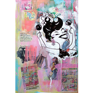 100 Mile An Hour Bubblegum Mixed Media - mixed media & collage