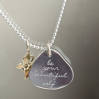 Polished Silver Message Pendant With Butterfly Charm