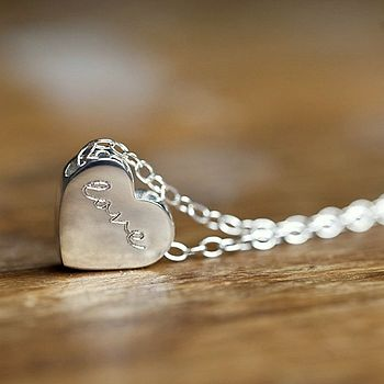 Personalised Silver Engraved Heart Pendant