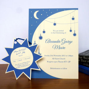 Twinkle Star Christening Invitation With RSVP Tag - invitations