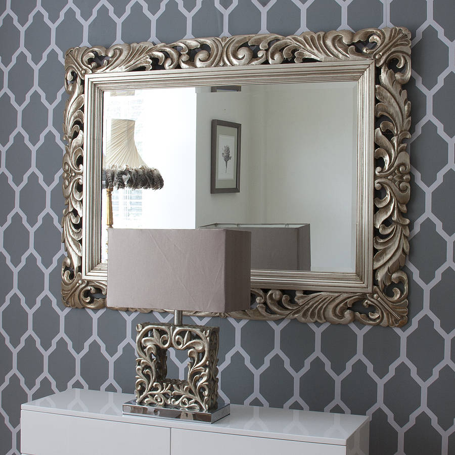 Carved wood gilt silver mirror by decorative mirrors for Decorative mirrors