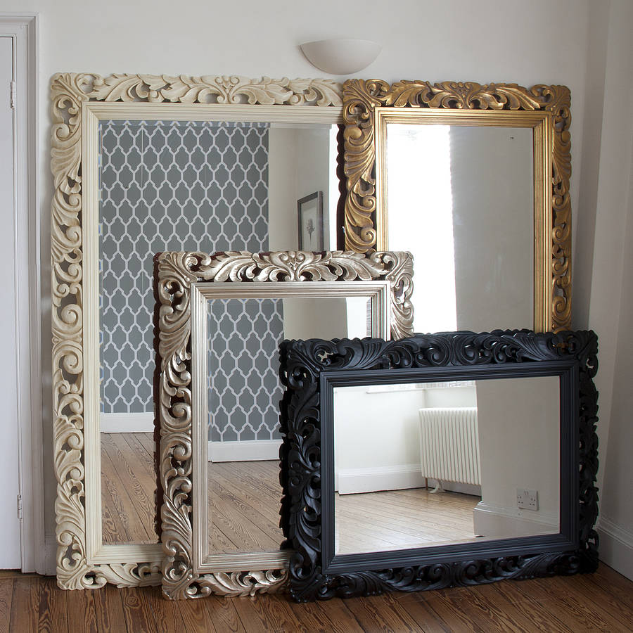 Carved wood gilt silver mirror by decorative mirrors for Wood framed mirrors