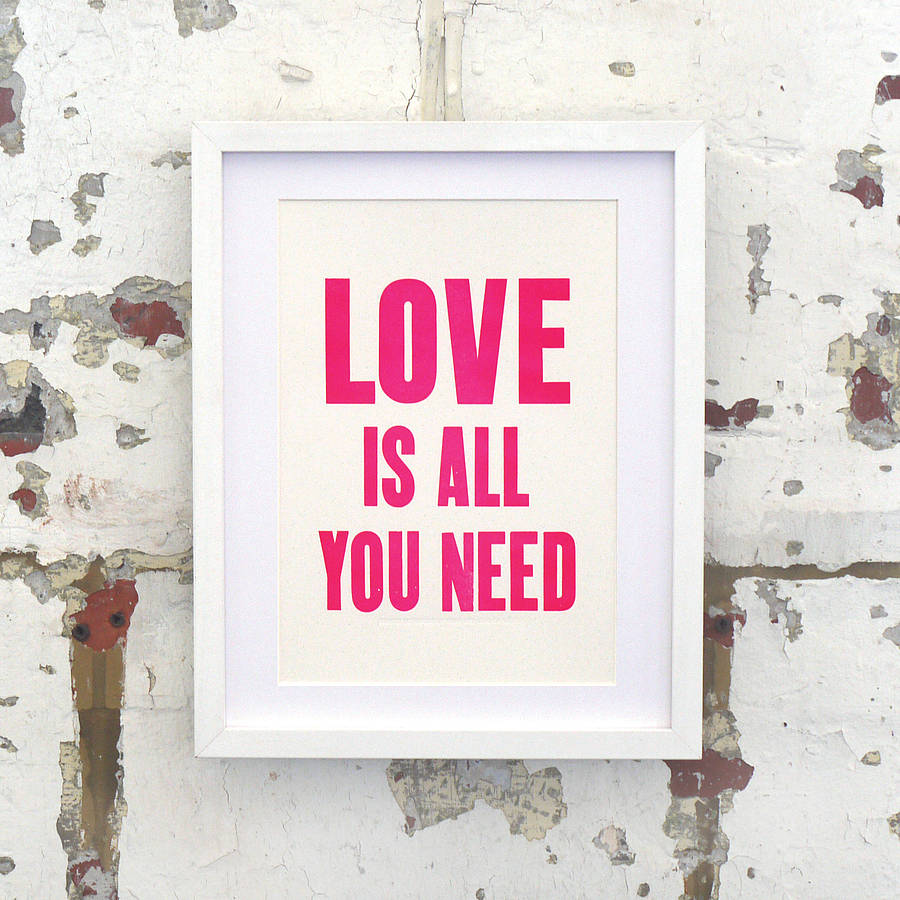 neon love is all you need letterpress print by print for love of wood. Black Bedroom Furniture Sets. Home Design Ideas