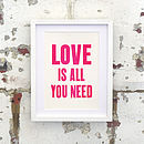 Neon Love Is All You Need Letterpress Print