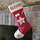 personalised christmas stocking, red with star