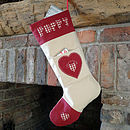 personalised christmas stocking, stone with heart