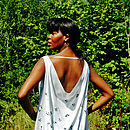 Hand Printed Draped Silk Shell Print Top
