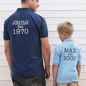 Personalised Established Polo Shirt Set - children's dad & me sets