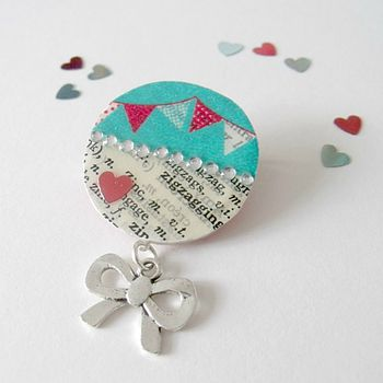 Bunting Upcycled Vintage Paper Brooch