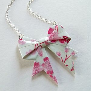Cherry Blossom Origami Bow Necklace