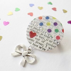 Spotty Upcycled Vintage Paper Brooch