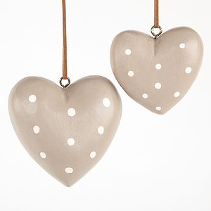 Mocha Spotted Wooden Hearts