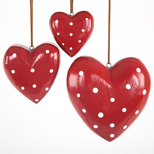 Red Spotted Wooden Hearts - decorative accessories